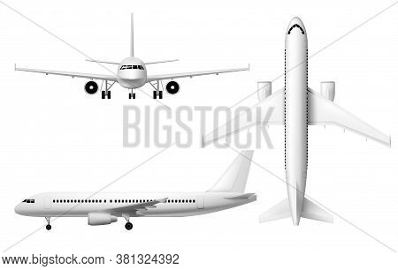 Plane Or Airplane, Realistic Aircraft Or Passenger Aeroplane, Vector 3d Model Isolated Mockup. White