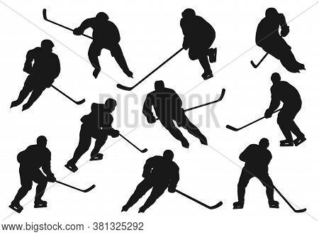 Ice Hokey Players Silhouettes, Sport Team Vector Icons Playing On Ice Rink Arena. Ice Hockey Team Pl