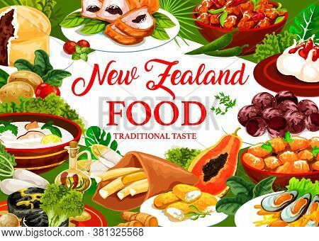 New Zeland Cuisine, Vector Dishes Pork With Apples And Prunes, Afghan Cookies. Pavlova Cake, Oyster