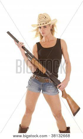 Woman Cowgirl With Shotgun