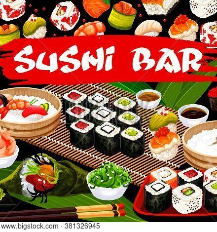 Sushi Bar, Japanese Cusine Vector Poster, Japan Food Rolls, Sashimi, Nigiri Sushi, Temaki Or Uramaki