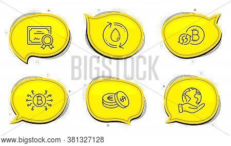Savings Sign. Diploma Certificate, Save Planet Chat Bubbles. Bitcoin System, Refresh Bitcoin And Ref