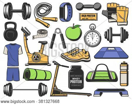 Fitness, Gym Objects, Sport Exercise Equipment Items, Vector Icons. Fitness, Gym Bodybuilding And Yo