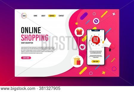 Landing Page With Phone Mockup. Buy 1 Get 1 Free Badge. Discount Banner Tag. Coupon Icon. Website Te