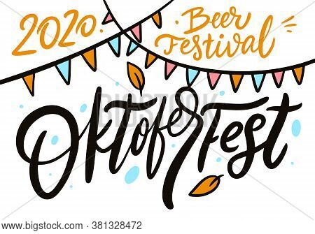 Oktoberfest Calligraphy And Beer Festival Calligraphy. Hand Drawn Lettering. Black Text Vector Illus