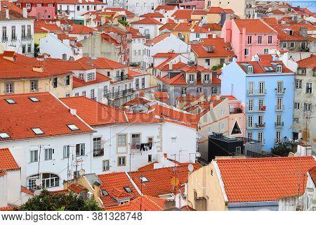 Lisbon Colorful City View. Alfama District Architecture In Lisbon, Portugal.