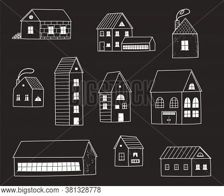 A Large Set Of Different Houses , Buildings, A Barn, A School Building. White Silhouettes Of Houses