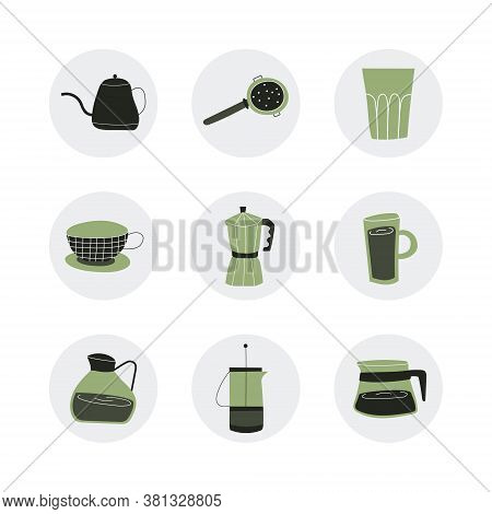 Set With Hand-drawn Coffee Accessories. A Good Template For A Website, Postcards, Posters, Stickers,