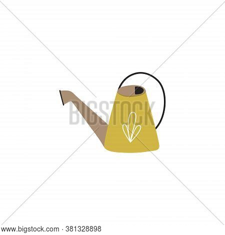 Cute Vector Illustration Of A Garden Watering Can. The Tool Of The Gardener. Isolated Watering Can O