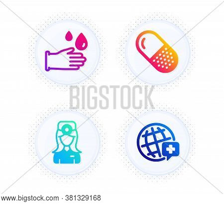 Capsule Pill, Oculist Doctor And Rubber Gloves Icons Simple Set. Button With Halftone Dots. World Me