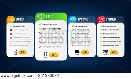 Search Employees, Teamwork And Face Detect Line Icons Set. Pricing Table, Subscription Plan. Leaves
