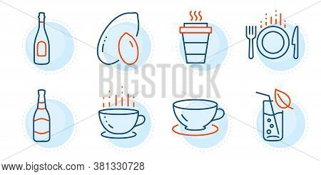 Water Glass, Espresso And Champagne Signs. Takeaway, Coffee Cup And Peanut Line Icons Set. Beer Bott