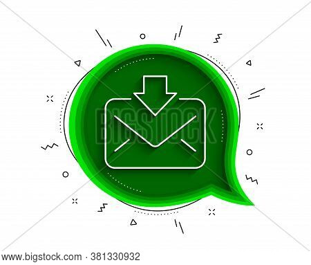 Mail Download Line Icon. Chat Bubble With Shadow. Incoming Messages Correspondence Sign. E-mail Symb