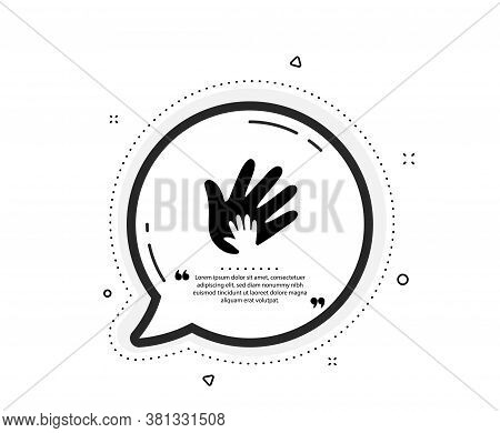 Hand Icon. Quote Speech Bubble. Social Responsibility Sign. Honesty, Collaboration Symbol. Quotation