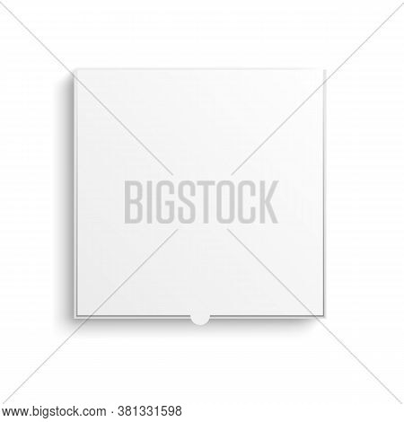 Realistic 3d Detailed White Blank Pizza Cardboard Box Template Mockup Top View. Vector Illustration