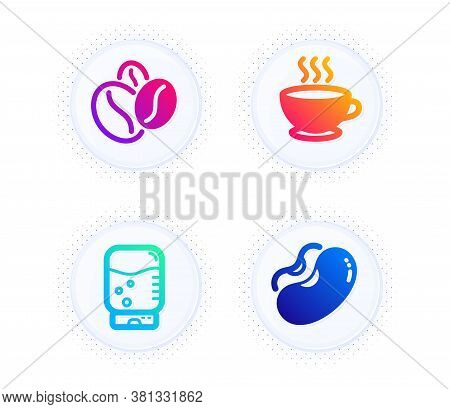Coffee Cup, Coffee Beans And Water Cooler Icons Simple Set. Button With Halftone Dots. Beans Sign. H