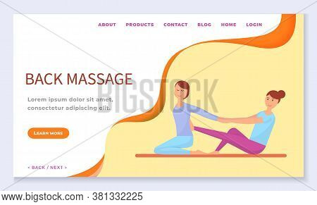 Back Massage And Special Techniques At Spa Salon. Specialist And Client At Procedure. Masseur And Cu