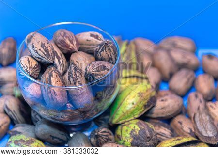 Pecan Or Pecan Fruits (carya Illinoinensis) In Glass Bowl On Blue Background