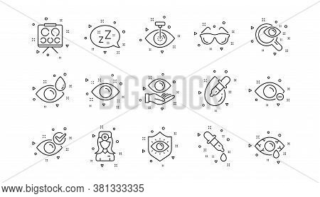 Medical Laser Surgery, Glasses And Eyedropper. Optometry, Eye Doctor Line Icons. Pink Eye, Cataract