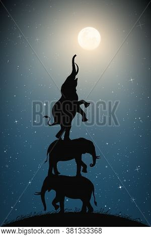 Elephants Reach For Full Moon On Moonlit Starry Night. Silhouettes Of Three Animals Standing On Top