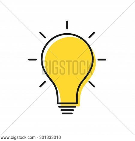 Creative Idea And Solution Concept. Electric Lamp Icon With Rays. Knowledge, Problem Solution, Creat