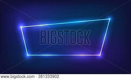 Neon Trapezoid Frame With Shining Effects On Dark Background. Empty Glowing Techno Backdrop. Vector
