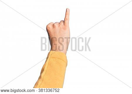 Hand of caucasian young man showing fingers over isolated white background showing little finger as pinky promise commitment, number one