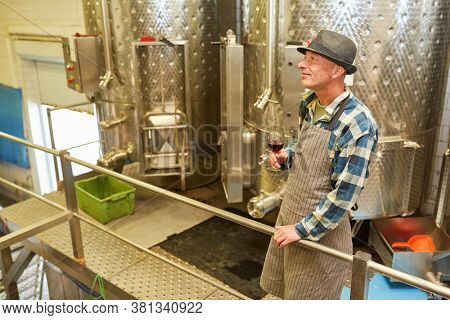 Winemaker with a glass of red wine in the winery in front of a fermentation tank