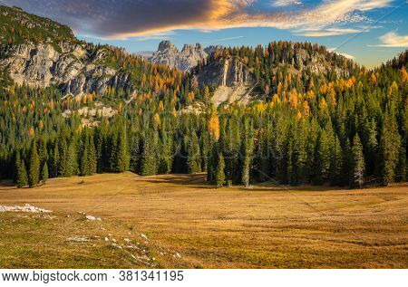 The Tre Cime di Lavaredo mountains at sunset. Dolomites, South Tyrol. Italy