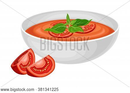 Gazpacho Or Cold Soup Of Tomatoes As Spanish Cuisine Dish Served In Bowl Vector Illustration
