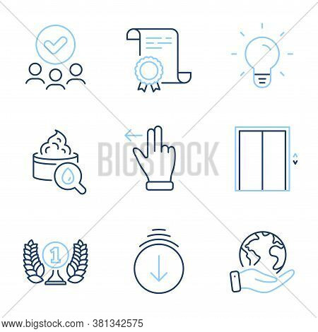 Lift, Laureate Award And Scroll Down Line Icons Set. Diploma Certificate, Save Planet, Group Of Peop
