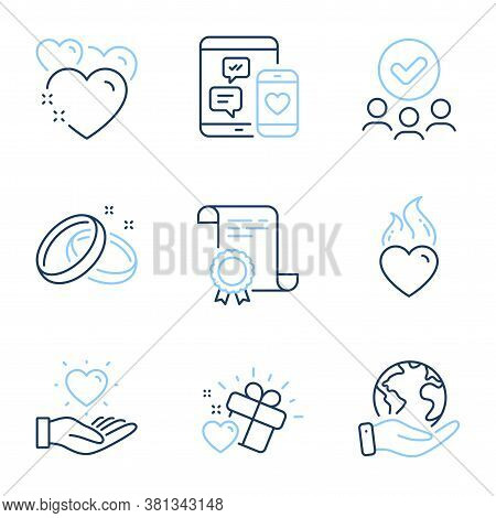 Wedding Rings, Social Media And Heart Flame Line Icons Set. Diploma Certificate, Save Planet, Group