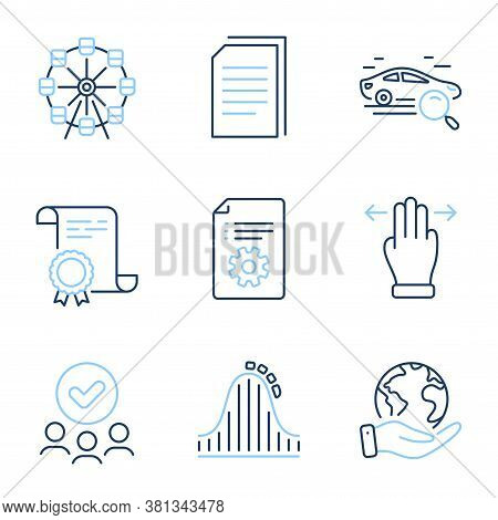 Copy Files, Technical Documentation And Ferris Wheel Line Icons Set. Diploma Certificate, Save Plane
