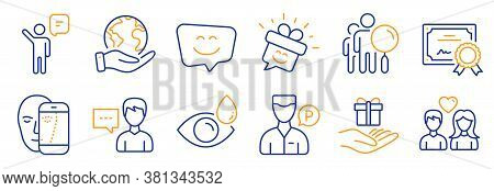 Set Of People Icons, Such As Smile Face, Smile. Certificate, Save Planet. Face Biometrics, Eye Drops