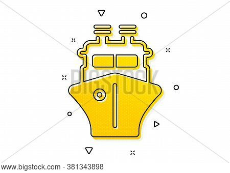 Watercraft Transport Sign. Ship Icon. Shipping Symbol. Yellow Circles Pattern. Classic Ship Icon. Ge