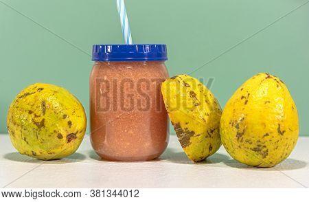 Natural Juice Of Guava Fruits (psidium Guajava)