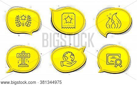 Loyalty Ticket Sign. Diploma Certificate, Save Planet Chat Bubbles. Attraction, Ranking And Fire Ene