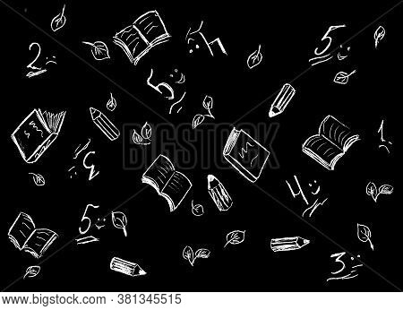 Black Background With White Drawn School Grades, Books, Notebooks, Pencils