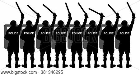 Crowd Of Riot Police Special Forces With Shields And Batons. Silhouette Vector Illustration