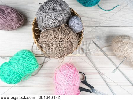 Colorful Threads. Selection Of Colorful Yarn Wool On Shopfront. Knitting Background, A Lot Of Balls.