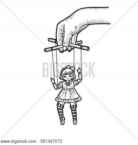 Puppeteer With Puppet Doll Sketch Engraving Vector Illustration. T-shirt Apparel Print Design. Scrat