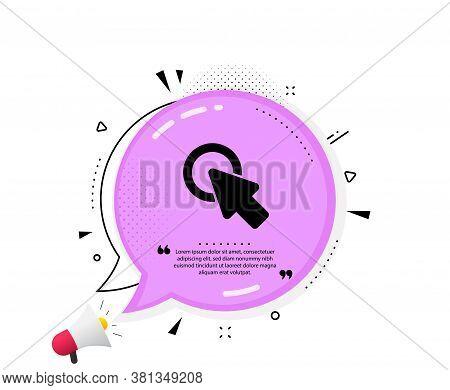 Click Here Icon. Quote Speech Bubble. Push The Button Sign. Web Cursor Symbol. Quotation Marks. Clas