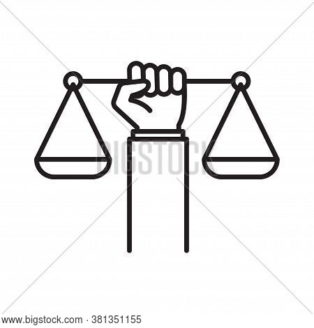 Civil Rights Icon. Law And Justice Concept. Weight Scales Justice Hold In Hand Judge. Vector Illustr