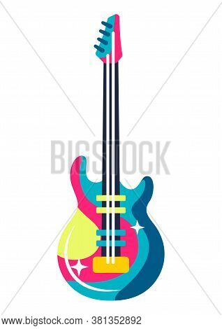 Illustration Of Musical Electric Guitar. Music Party Or Rock Concert Creative Image.