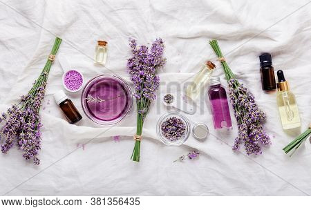 Set Lavender Oils Serum And Lavender Flowers.skincare Cosmetics Products. Natural Spa Beauty Product