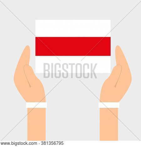 Hands With Flag. Freedom Of Belarus. Belarusian Flag Of Freedom. Protests In Belarus After Election