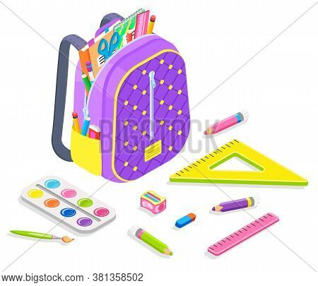 Supplies For Lessons Vector, Back To School Concept, Satchel With Objects For Classes. Isometric Car
