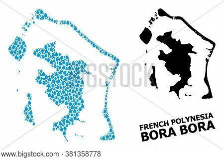 Vector Mosaic And Solid Map Of Bora-bora. Map Of Bora-bora Vector Mosaic For Drinking Water Ads. Map