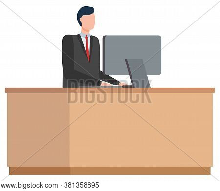 Man Character Communication With Computer, Business Industry, Employee Worldwide Connection. E-comme