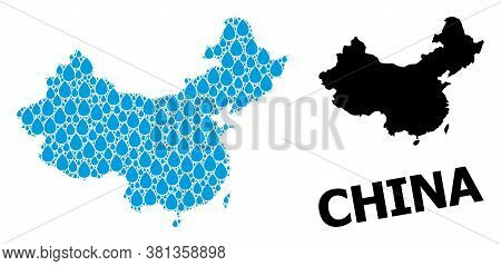 Vector Mosaic And Solid Map Of China. Map Of China Vector Mosaic For Drinking Water Ads. Map Of Chin
